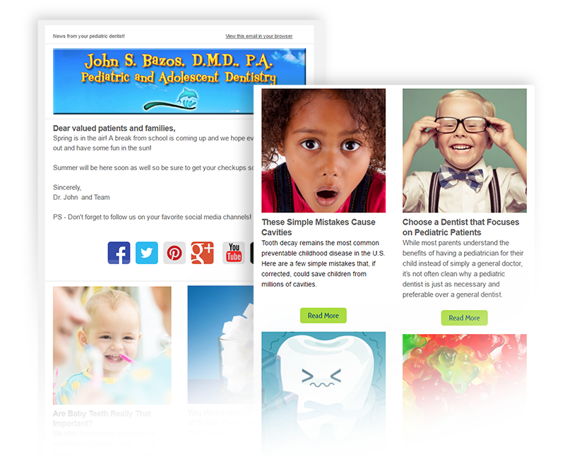 Social Media eNewsletters for Pediatric Dentists from Wordpress Blogs