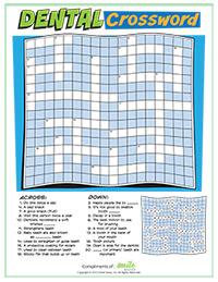 Dental Crossword Activity Sheet for Pediatric Dentists