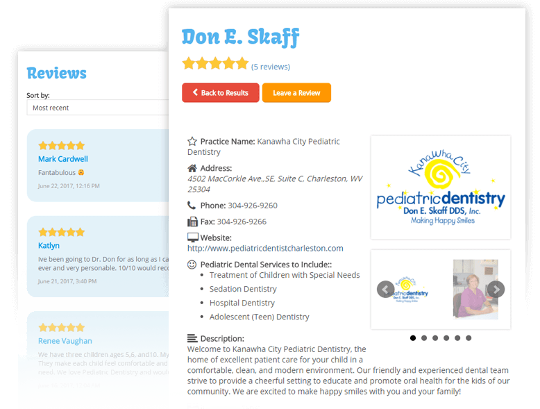 Personalized Listing Pages on the Dentists4kids.com Pediatric Dentist Directory
