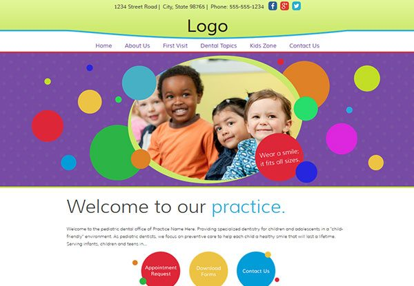 Quick-Custom Website Design 17 for Pediatric Dentists