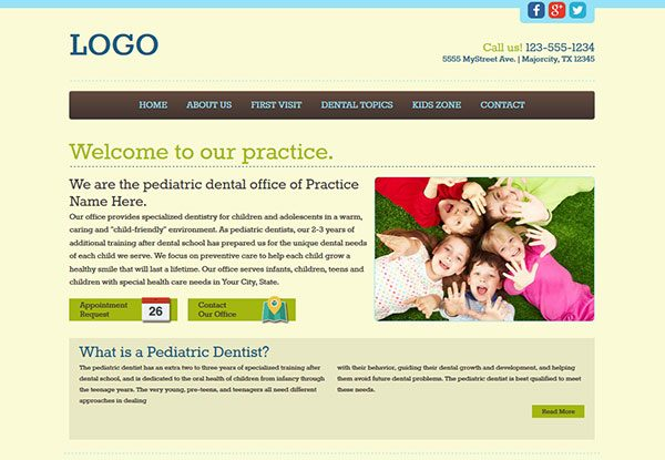 Quick-Custom Website Design 20 for Pediatric Dentists