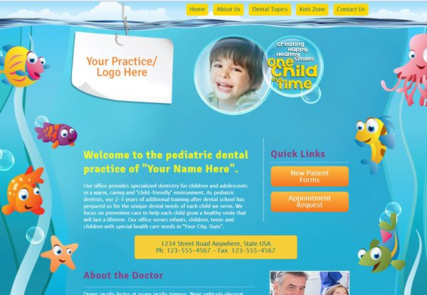 Quick Custom Website Design 23 for Pediatric Dentists