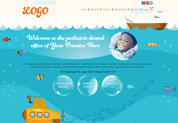 Quick Custom Website Design 34 for Pediatric Dentists