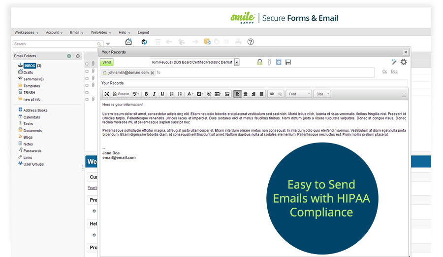 Easy to Send Encrypted Emails with HIPAA-Compliance for Dentists