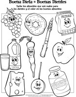 spanish healthy foods activity sheet for pediatric dentists
