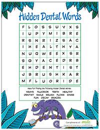 Hidden Dental Words Activity Sheet for Pediatric Dentists