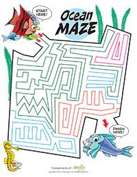 Ocean Maze Activity Sheet for Pediatric Dentists