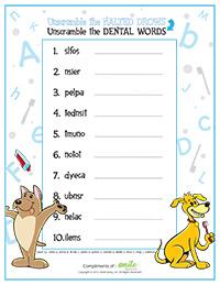 Word Scramble Activity Sheet for Pediatric Dentists