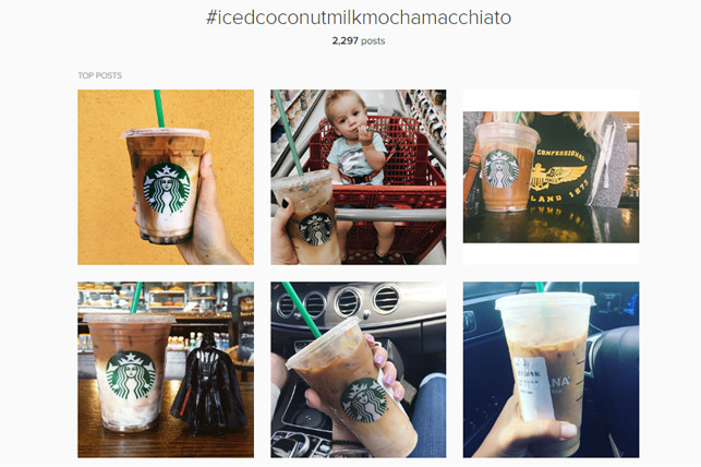 This is the Instagram hashtag stream for #icedcoconutmilkmochamacchiato. Starbucks is a major influencer, and can get away with not capitalizing individual words and people will still follow.