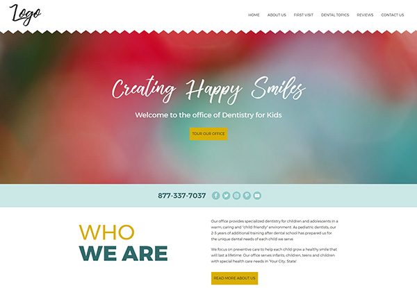 Design 42 - Quick Custom Website Template for Pediatric Dentists