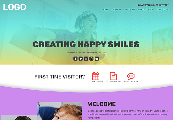 Quick Custom Website for Pediatric Dentists