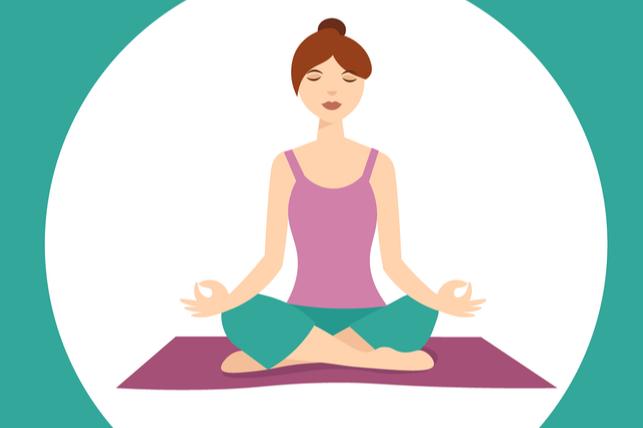 woman relaxing in lotus pose