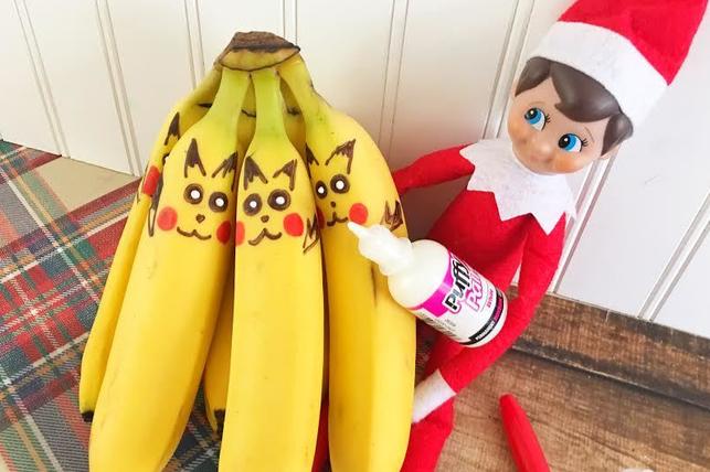 elf on the shelf draws on bananas