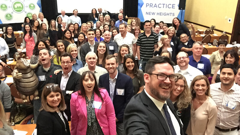 Scott Childress and the attendees of the Search and Social Summit from Smile Savvy