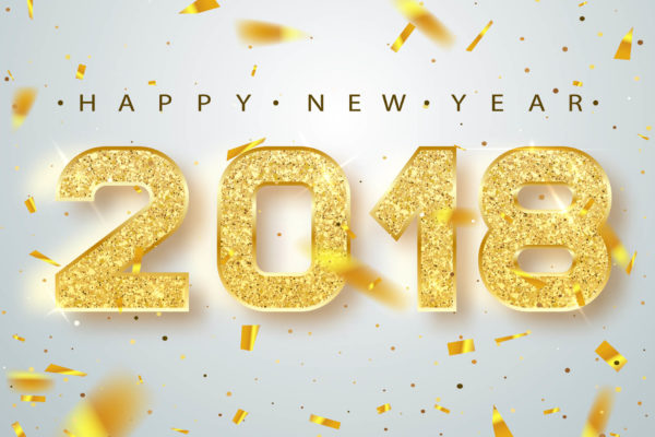 happy new year 2018 in gold