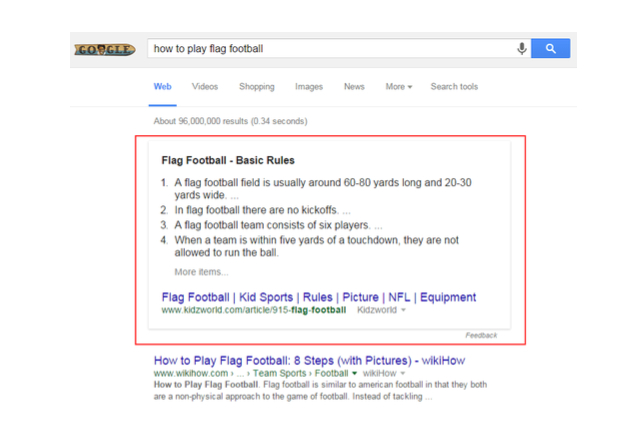 featured snippet showing how to play flag football