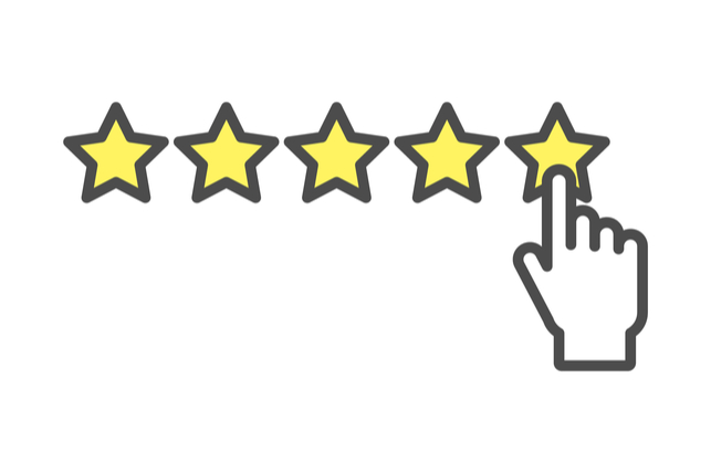 digital finger dictating a 5-star review