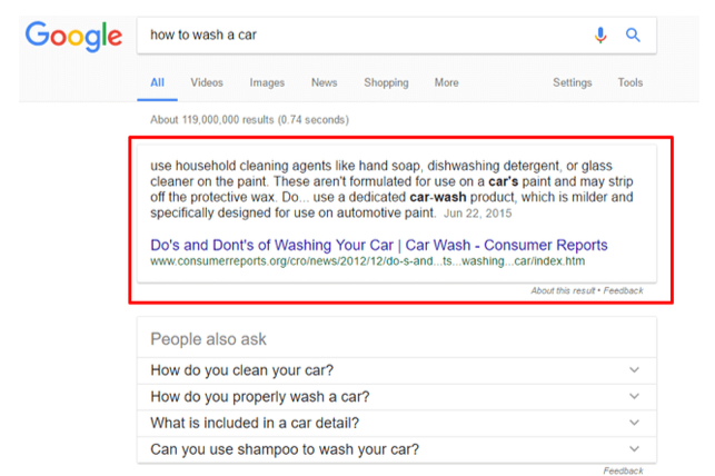 featured snippet about washing your car