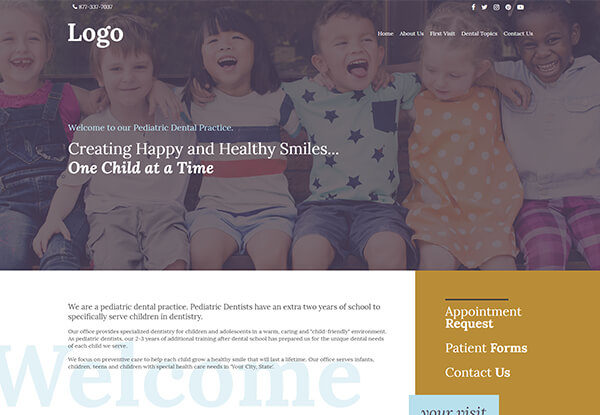Quick Custom Website Templates for Pediatric Dentists