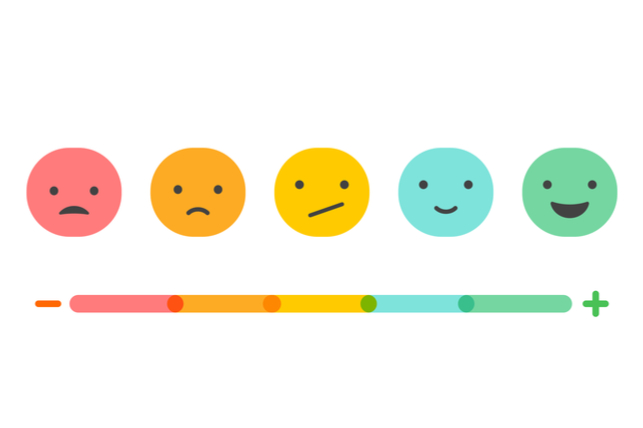 colorful faces depicting an emotional scale