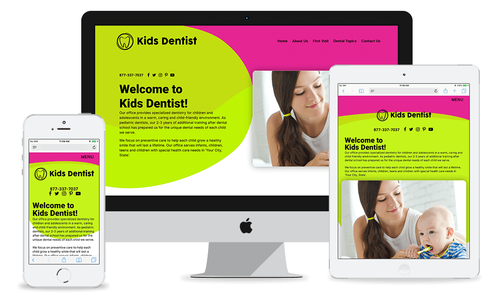 Colorful and Bold Quick-Custom Website for Pediatric Dentists