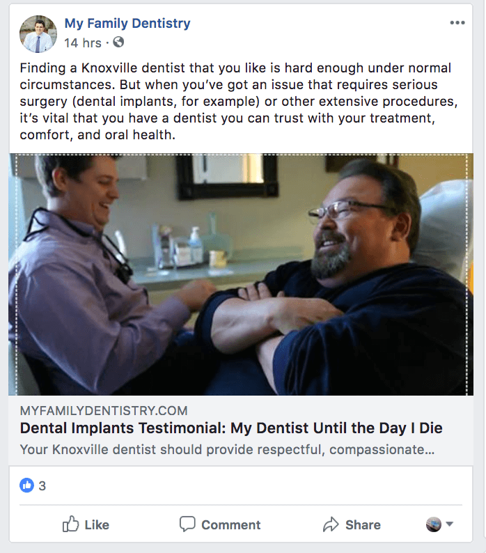 facebook testimonial from a happy patient