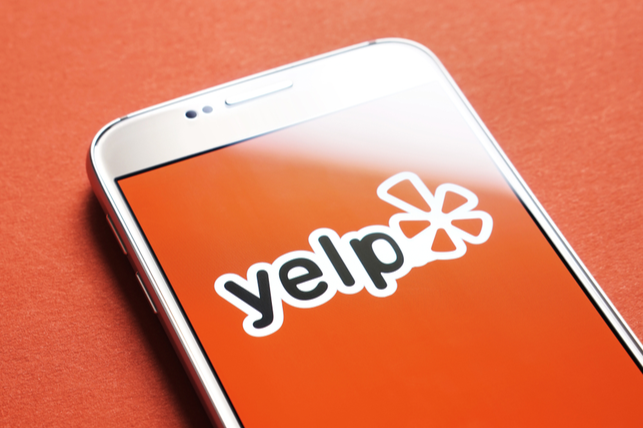 Yelp app open on phone screen