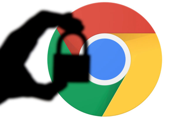 Google Chrome logo with lock shadowed over it