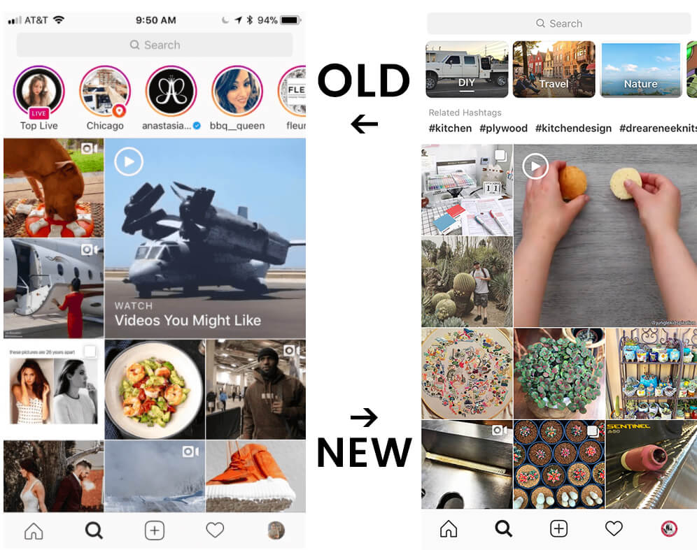 Instagram Explore Tab Upgrades