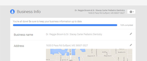 Google verification for dentists